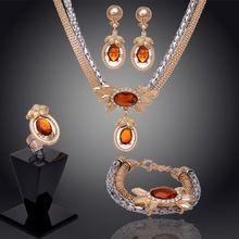 Envío Gratis 14 k Chapado En Oro de Austria Cristal Rojo Granate Rubí Anillo Collar Pendientes Pulsera Joyería de La Boda Fija Al Por…