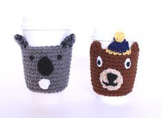 Bear coffee cozy gift set koala and brown bear by MsAmandaJayne, $24.00