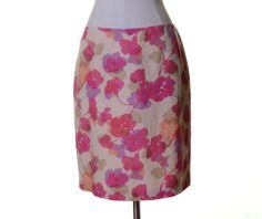 Ann Taylor LOFT Ivory Pink Purple Floral Silk Blend Lined Straight Skirt Size 10