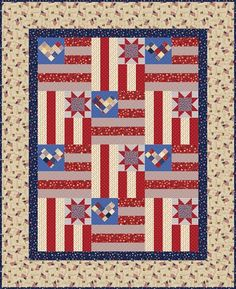 = free pattern = Stars and Stripes quilt by Heidi Pridemore for P&B Textiles.  Posted at Quilt Inspiration.