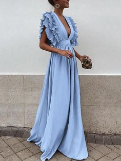 Women'S Ruffles Flying Sleeve Party Long Dress Solid Color Formal Lady Deep V Neck High Waist Dress Backless Wedding Party Dress Color Black Size L Elegant Maxi Dress, Backless Maxi Dresses, Maxi Dress With Sleeves, Ruffle Dress, Sexy Dresses, Evening Dresses, Dress Up, Short Sleeve Dresses, Short Sleeves