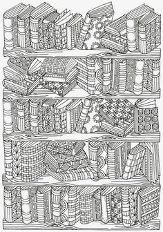 Bookshelf Doodle Coloring Page More Do you love a good book? You read a lot? If you do, then enjoy yourself while coloring this amazing, vintage Bookshelf Doodle Coloring Page. Adult Coloring Book Pages, Free Coloring Pages, Coloring For Kids, Printable Coloring Pages, Fall Coloring, Doodle Coloring, Mandala Coloring, Coloring Sheets, Coloring Books