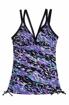 Leapin Leopards Adjustable Side Tankini Top from Free Country in Wisteria and Black. This leopard inspired print will have you looking cool when you take that first leap into the pool.  http://www.freecountry.com/categories/womens/womens-swim-tops/products/leapin-leopards-adjustable-side-tankini-top