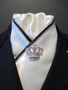 Stunning White Dressage Stock Tie with Navy and Silver Trim by EquestrianPzazz We are also on Facebook, check out our page for more beautiful and unique designs! www.facebook.com/eqpzazz