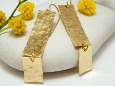 Rectangle earrings hammered gold long earrings by AyalaVitkon, $72.00