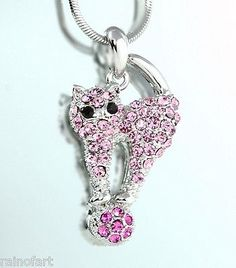 w Swarovski Crystal Cat Pink Cute Kitty Charm New Pendant Necklace - http://elegant.designerjewelrygalleria.com/swarovski/w-swarovski-crystal-cat-pink-cute-kitty-charm-new-pendant-necklace/