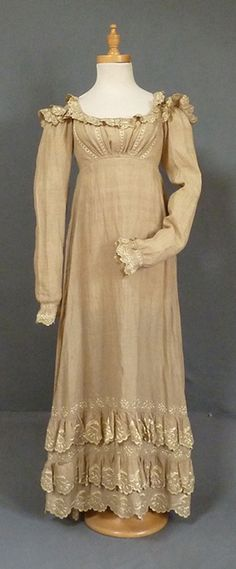 Embroidered Linen Dress, c 1820. Meg Andrews auctions.