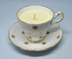 Upcycled Vintage Teacup Candle **Regency China Rose Pattern - Vanilla Vegan Candle** by FinerySoaps on Etsy