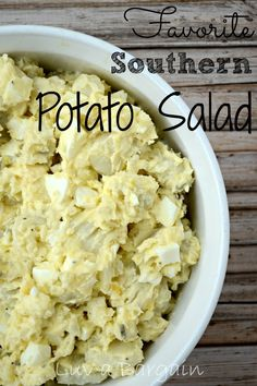 "Favorite Southern Potato Salad _ You know those recipes you call your Mom for. This is one of those recipes. I grew up (in Eastern NC) on my Grandmother's Southern Potato Salad & for the longest time never had a true ""recipe"". Asking my mother years ago, I scribbled down what she thought it was & tucked it away!"