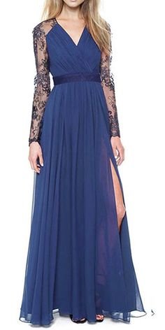 Merope J Women's Casual Deep- V Neck Sleeveless Vintage Maxi Dress (XL, Blue)