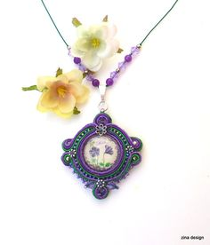 Purple Green Soutache Necklace Mother  by ZinaDesignJewelry