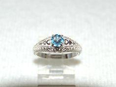 Blue Topaz Ring, Size 7, London Blue,  Art Nouveau Style, Sterling Silver, December Birthstone