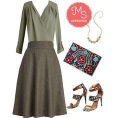 Elegant Epiphany Top, Prim Class Hero Skirt, Prize and Shine Necklace, Tapas of the Hour Clutch, Trust Your Strut Heel