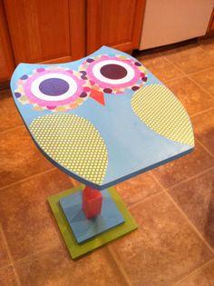 Owl wooden table/ owl nursery decor/owl furniture on Etsy, $105.99