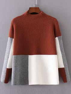 shop-color-block-mock-neck-drop-shoulder-sweater-online-shein-offers-color-block-mock-neck-drop-shoulder-sweater-more-to-fit-your-fashionable-needs/ SULTANGAZI SEARCH Knitwear Fashion, Knit Fashion, Sweater Fashion, Knitting Designs, Knitting Patterns, Crochet Patterns, Diy Pullover, Jugend Mode Outfits, Funny Christmas Sweaters