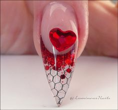 Valentines Inspired Sculptured Acrylic Nail. Sculptured Acrylic Nails, Luminous Nails, Gold Nails, Pedicure, You Nailed It, Red Roses, Valentines, Valentine Nails, Heart Ring