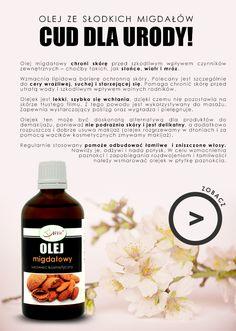 Olej migdałowy otrzymujemy dzięki wyciskaniu na zimno nasion drzewa migdałowego – migdałów, które zawierają od 40 do 55% tłuszczu. Jest to olej nieschnący, o bursztynowej barwie i lekkim, przyjemnym, migdałowym zapachu. Olej ze słodkich migdałów to jeden z najstarszych olejów znanych człowiekowi. Obecnie, również jest jednym z najczęściej wybieranych olejów kosmetycznych, który pomoże zadbać o piękną skórę, włosy i paznokcie. #cosmeticanatural #almond #beautytip Diy Beauty, Beauty Hacks, Face Skin, Easy Hairstyles, Life Hacks, Diy And Crafts, Healthy Recipes, Food, Wax
