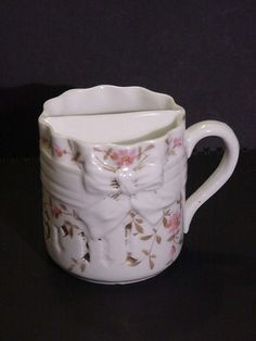 """Antique Ceramic Shaving Mug, """"Present"""" Gilt with Bow & Flowers 3.25 inches Tall"""