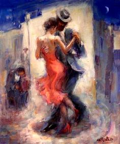 Bert Christensen's Cyberspace Home, Gustavo Pujalte, Esquina Tango Danse Salsa, Arte Latina, Tango Art, Tango Dancers, Dance Paintings, Salsa Dancing, Beautiful Paintings, Figurative Art, Art Drawings