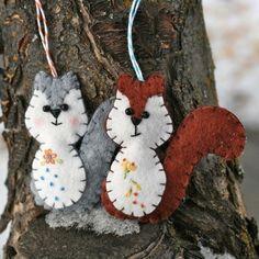 Just because I love Squirrels.   Felt Ornament