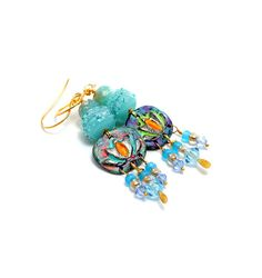 Blue Bohemian Glass Bead Earrings. Long Dangle by wildwomanbeads