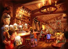 Concept art for Gaston's Tavern for New Fantasyland at Magic Kingdom