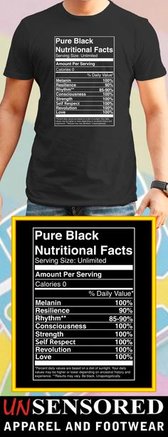 Pure Black Nutritional Facts - Grab our brand new Shirts! Not Sold In Stores. Only available for limited time and makes for a perfect gift, so get yours now before time runs out!
