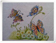 Tatitando Arte: Pano de copa pintado a mão com tema borboletas e crochê em borboletas