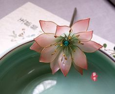 Transparent resin water lily/Lotus hair by Numerousflowerfall