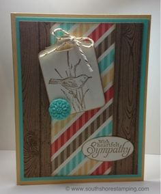 Sympathy card using the Stampin' Up! sets Hardwood and Simply Sketched by Emily Mark SU demo Montreal. www.southshorestamping.com
