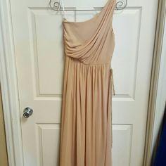 One should gold long chiffon dress - new Long one shoulder chiffon dress in gold never worn sample dress. Dessy group  Dresses One Shoulder