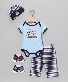 Little cuties can have it all with this precious set. A lap neck and button snaps on the appliquéd bodysuit buddy up with an elastic waistband on the pants for pure comfort. The snug beanie and two pairs of socks help to keep noggins and toes bundled up in cuddly comfort too.