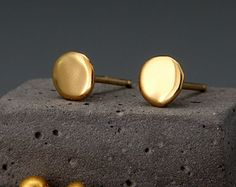 Solid 24K Gold Earrings Nuggets | Handmade Dainty Solid 24K Gold Nuggets Earrings | Solid Gold Stud Earrings