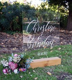 Acrylic Wedding Welcome Sign. Hand-Lettered Calligraphy White