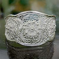 Sterling silver cuff bracelet, 'Eve's Garden' - Floral Silver Filigree Bracelet from Indonesia