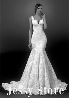 Gorgeous Trumpet Lace Wedding Dresses 2015 Appliques On Whole Body Sweetheart Straps Elegant Zipepr up Back Bridal Gown JSW724