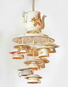 Antique Pendant Lights Made from Recycling Tea Cups and Tea Pots.