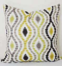 Items similar to Decorative Pillow Throw Pillow Waverly Black Lime Chartreuse Grey Ikat Accent Pillow on Etsy Chartreuse Decor, Lime Green Decor, Decorative Pillow Covers, Decorative Accessories, Sweet Home, Throw Pillows, Unique Jewelry, Handmade Gifts, Decorating