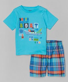 Take a look at this Turquoise 'Boat' Tee & Plaid Shorts - Infant, Toddler & Boys on zulily today!