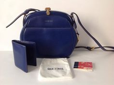 f725360bf6ca3 GOLDPFEIL Blue Leather Matisse Bag With Matching Bifold Wallet GERMANY  PRISTINE!  Goldpfeil  ShoulderBag