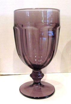 Eight (8) LIBBEY Rock Sharpe Gibraltar Glass Water Goblets Violet Dk Purple #Libbey
