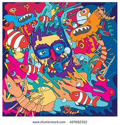 Vector illustration people diving in the colorful corals