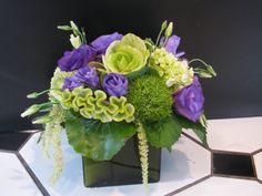 Green kale, celosia, dianthus, amaranthus and hydrangea with purple lisianthus