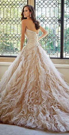 champagne bridal gown | amazing wedding dress | Sophia Tolli Fall 2014 Bridal Collection