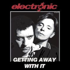 ELECTRONIC BERNARD SUMNER & JOHNNY MARR 1989 GETTING AWAY WITH IT SHIRT & POSTER