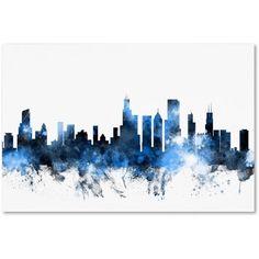 Trademark Fine Art Chicago Illinois Skyline II Canvas Art by Michael Tompsett, Size: 12 x 19, Blue