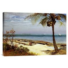 Global Gallery 'Tropical Coast' by Albert Bierstadt Painting Print on Wrapped Canvas