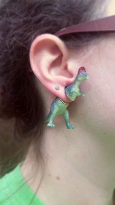 Corythosaurus   Green Dinosaur Earrings  Faux Gauge  by GlitzyDino