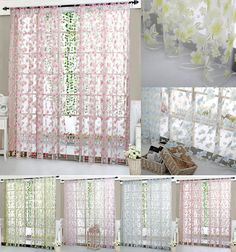 Floral Tulle Voile Door Window Curtain Sheer Valances Scarf ... ...