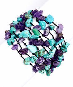 Amethyst & Turquoise Stone Mesh Bracelet